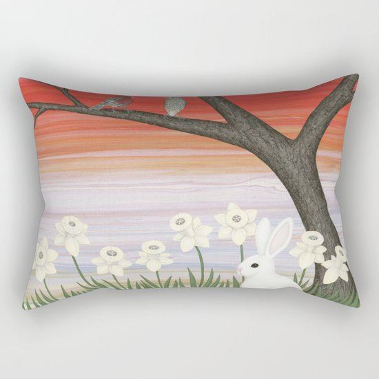 psychedelic spring scene Rectangular Pillow