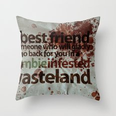 Zombie Infested Wasteland Throw Pillow