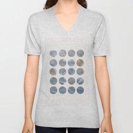 Pastel Blue and Gold Minimalist Dots Unisex V-Neck