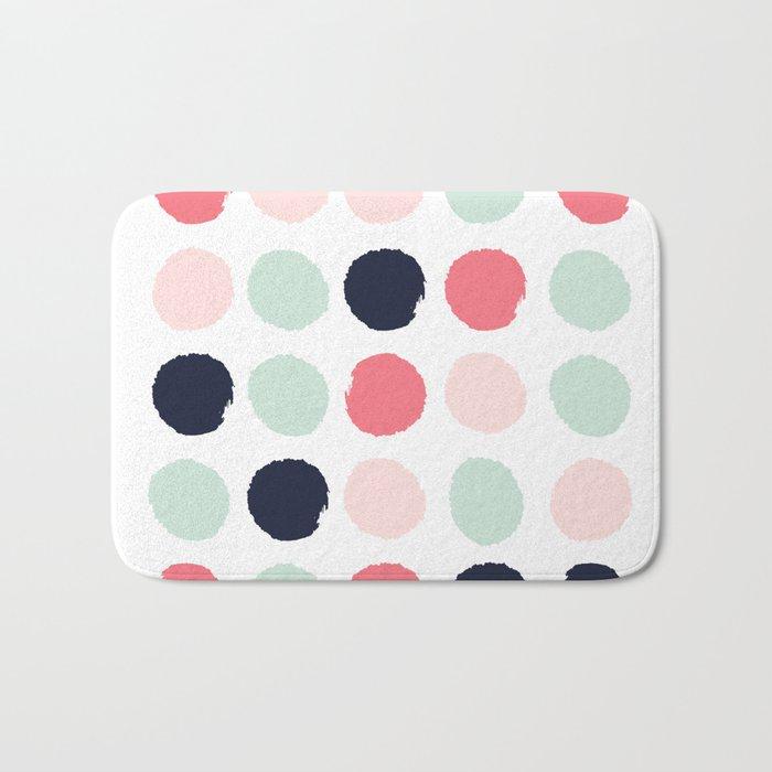 Painted dots trendy color palette minimal polka dots decor nursery home Bath Mat