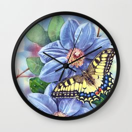 Watercolor Butterfly Wall Clock