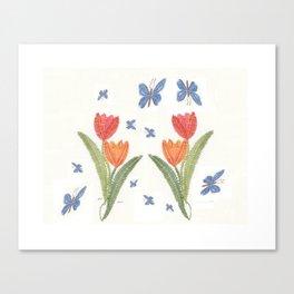 Tulipes et papillons en dentelle Canvas Print