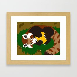 Red Panda Yellow Ball Framed Art Print