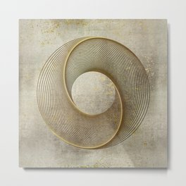 Geometrical Line Art Circle Distressed Gold Metal Print