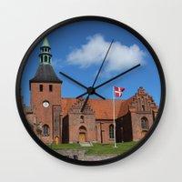 denmark Wall Clocks featuring Vor Frue Kirke, Svendborg, Denmark by Anders Riise Koch