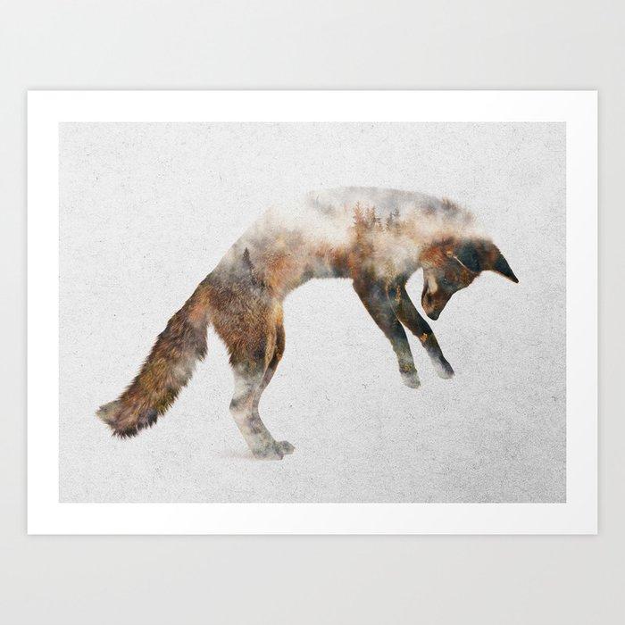 Jumping Fox Kunstdrucke