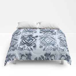 Simply Ikat Ink in Indigo Blue on Sky Blue Comforters
