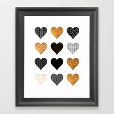 Gold, black, white hearts Framed Art Print