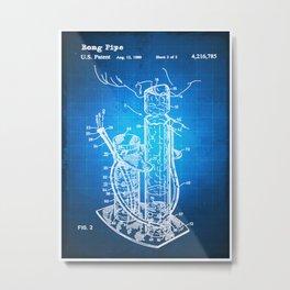 Bong Patent Blueprint Drawing Metal Print