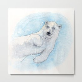 Polar bear underwater Metal Print