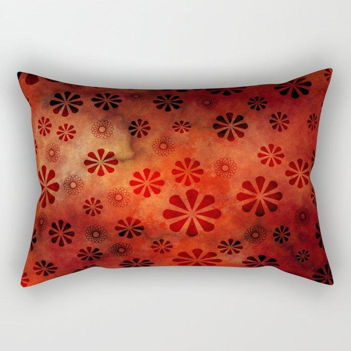 Burnt Orange Flowers Pattern Rectangular Pillow