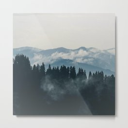 Forest mountains fogs & clouds Metal Print