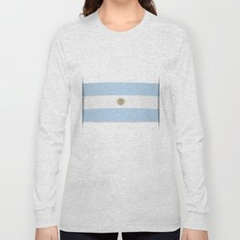Flag of Argentina. The slit in the paper with shadows. Long Sleeve T-shirt