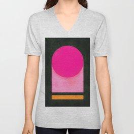 Pink Bright Black Base Abstract Unisex V-Neck