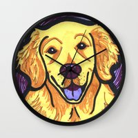 golden retriever Wall Clocks featuring Golden Retriever by Gianna Brucato