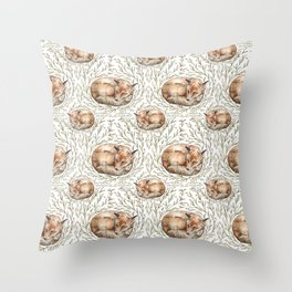 Sleeping foxes with leaves Throw Pillow