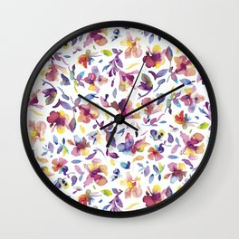 watery hibiscus flowers - Multicolored tropical pattern Wall Clock