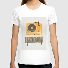Vinyl Deck LARGE White Womens Fitted Tee