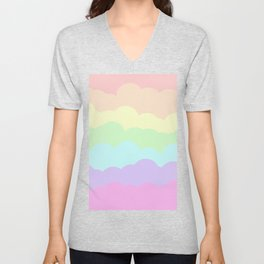 Rainbow Ombre Clouds Unisex V-Neck