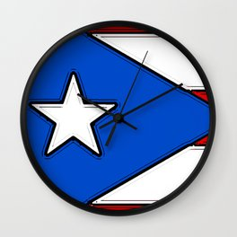 Puerto Rico Map with Puerto Rican Flag Wall Clock