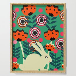 Little bunny in spring Serving Tray