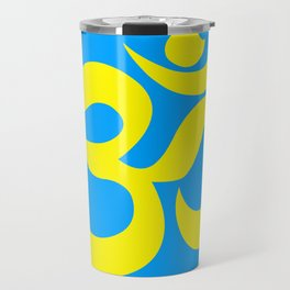 Yellow AUM / OM Reiki symbol on blue background Travel Mug