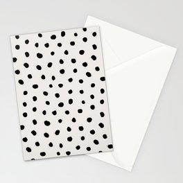 Modern Polka Dots Black on Light Gray Stationery Cards
