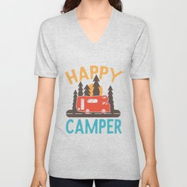 Happy Camper Camping Motorhome Nature Unisex V-Neck