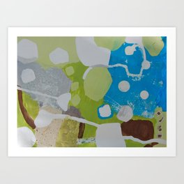 flow - mixed media collage in lime, turquoise, silver and white by Art Print