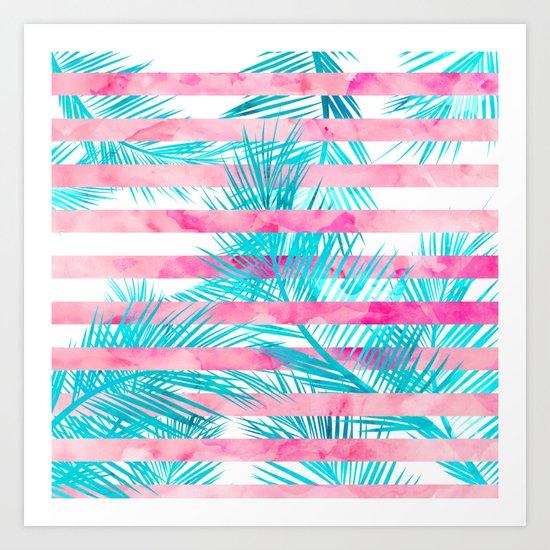 Modern pink turquoise tropical palm tree watercolor stripes pattern Art Print