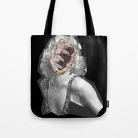 geode Tote Bags featuring Geode Marilyn by hunnydoll