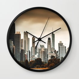 chicago skyline at dusk Wall Clock