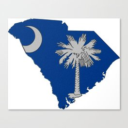 South Carolina Map with State Flag Canvas Print