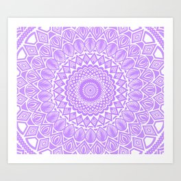 Light Bright Purple Violet Mandala Detailed Minimal Minimalistic Art Print