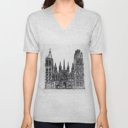 Rouen Cathedral Unisex V-Neck