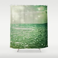 aqua Shower Curtains featuring Sea of Happiness by Olivia Joy StClaire