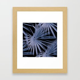 Blue on Black Tropical Vibes Beach Palmtree Vector Framed Art Print