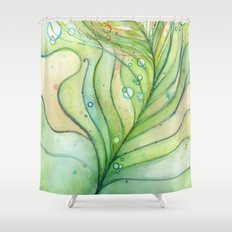 Green Watercolor Peacock Feather and Bubbles Shower Curtain