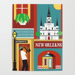 New Orleans, Louisiana - Collage Illustration by Loose Petals Poster