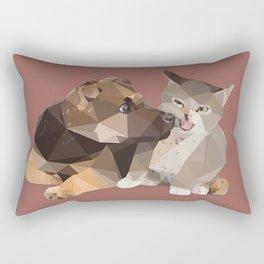Low Poly German Shepard Puppy and Cat Rectangular Pillow
