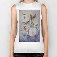 fireflies Biker Tanks featuring Girls and Fireflies by SandraSueSteiner