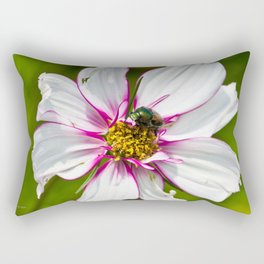 Dogbane Beetle Eating Flower Rectangular Pillow