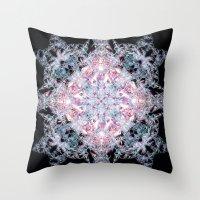 snowflake Throw Pillows featuring Snowflake. by Assiyam