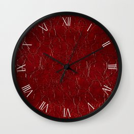 Dark claret puckered leather cloth abstract Wall Clock