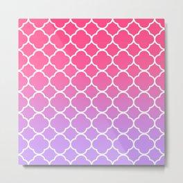 Pink & Lavender Ombre Quatrefoil Metal Print
