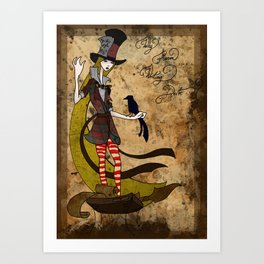 Mad Alice: Why is a Raven like a Writing Desk? Art Print