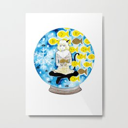 Cat girl with fishes and snow Metal Print