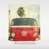 vw Shower Curtains featuring VW Coastin' by RichCaspian