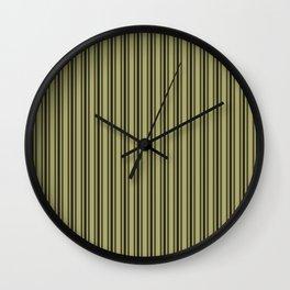 Large French Khaki Mattress Ticking Black Double Stripes Wall Clock