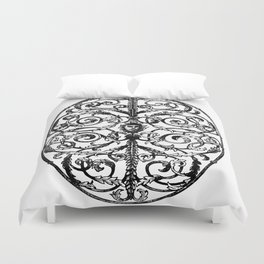 Antique Iron Gate with Face Duvet Cover